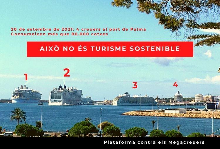 Avui hi ha al port 4 creuers: consumeixen més que 80.000 cotxes